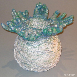 Fibre sculpture 'Add It Up' by Meredith Peach, made from reclaimed telephone wire (PVC-coated copper wire) and plastic